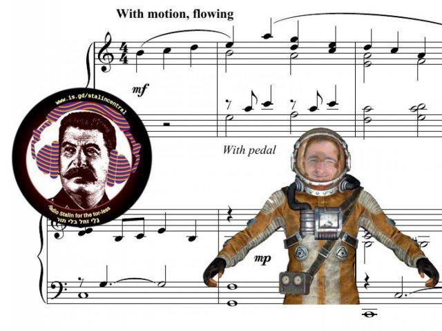 Eden Fuchs in a hazmat suit (illustration)