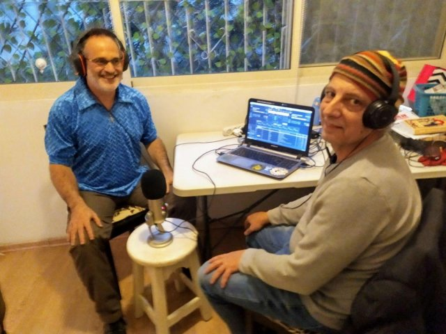 Nimrod Halpern (left) at Radio Stalin